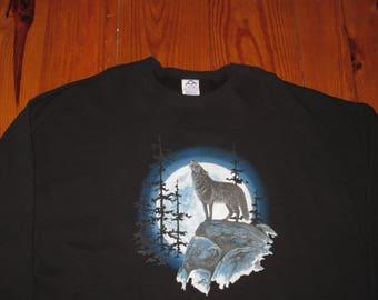 Rare Vintage 1990s Wolf Hip Hop Oversized Crewneck Sweatshirt