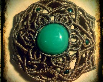 Green Aventurine mandala necklace