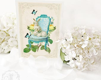 Rabbit card, Rabbits on a Regency chair, white rabbits, rabbit on a chair, Easter card, bunny rabbit, birthday card, blank card
