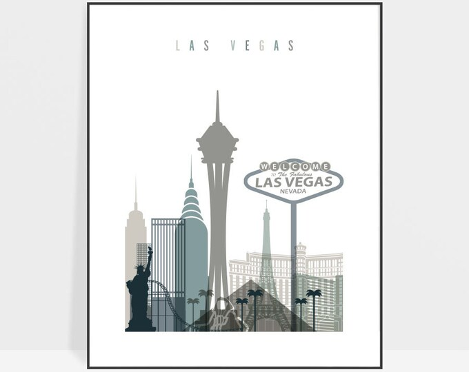 Las Vegas art print, Poster, Las Vegas skyline, Wall art, Nevada cityscape, Travel print, Home Decor, Travel gift, ArtPrintsVicky