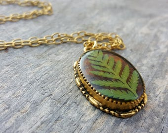 Real Fern Necklace - Green and Brown Fern Frond Necklace in Gold - Rustic Birch Bark with Pressed Leaf - Nature Jewelry