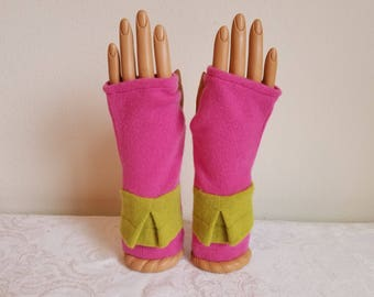 Peplum Fingerless Gloves in Rose and Lime Cashmere