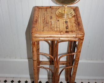 Vintage Rattan Plant Stand, Tortoise Rattan Small Table, Rattan Tall Stand or Table, Mid Century Tortoise Rattan Table, Boho  Rattan Table
