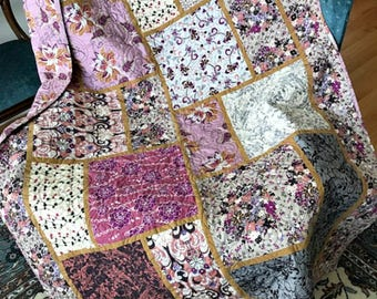 Big Block Patchwork Lap Quilt/ Sophisticated Colors/  Pinks Raspberry Black Beige/Long Arm Quilted/ Sofa Throw