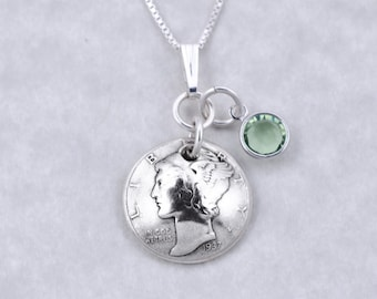 80th Birthday Gift - 1938 Silver Mercury Dime Coin Birthstone Pendant Necklace Jewelry - Birthday Gift for Mother  Birthday Gift for Grandma