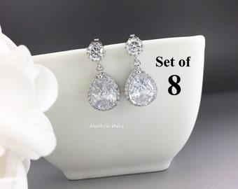Set of 8 Wedding Earrings Drop Earrings Crystal Earrings Bridal Statement Earrings Gift for Her Cubic Zirconia Bridesmaid Earrings Wedding