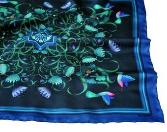Pocket Square / Iris Pocket Square / Floral Neckerchief / Hummingbird Pocket Square / Blue Silk Pocket Square / Wedding Accessory