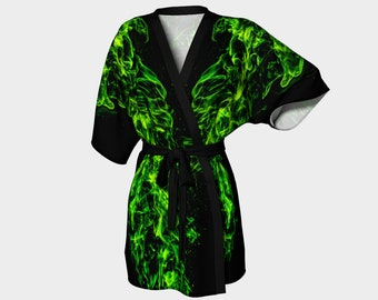 Green Flame Kimono Robe - Unique Loungewear - Ethical Clothing