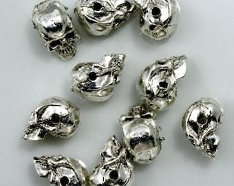 8mm Antique Silver Cast Metal Skull #CMA752