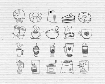 Hand-Drawn Cafe Elements, Digital Cliparts and Vectors in jpg, png, and eps format