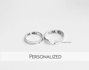 Heart Couple Ring | Half Heart Ring | Tiny Heart Ring | Promise Rings For Couples | Couple Ring Set | His and Her Ring Set
