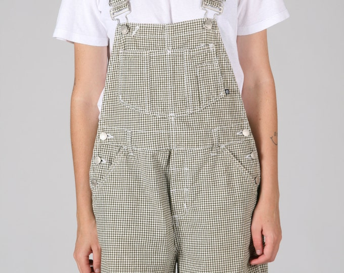 Green check Cotton Overalls