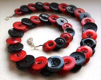 Red and Black Button Necklace Button Necklace Button Jewellery Button Jewelry UK Handmade Free UK Shipping