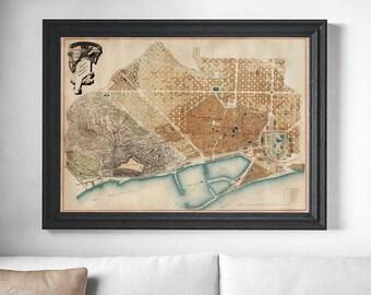 Mapa de Barcelona. 1891. Old Map from Barcelona