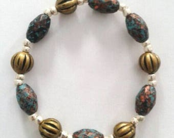 Speckled Blue and Muted Gold Bracelet