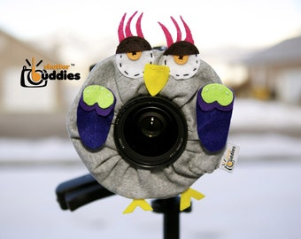Shutter Buddies Greg Gray OWL with SQUEAKER camera lens buddy- Ready to ship