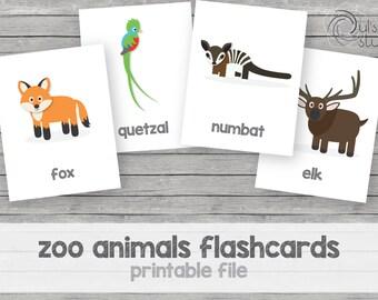 Printable kid's zoo animals flashcards, english