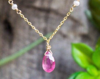 Natural pink sapphire gemstone- seed pearl chain necklace, mothers's necklace , godt for her , september birthstone , layered necklace .