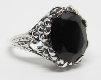 Art Nouveau Design Black Onyx Floral Ring Sterling Silver Size 6/Antique Vintage Victorian/Mourning Goth Jewelry