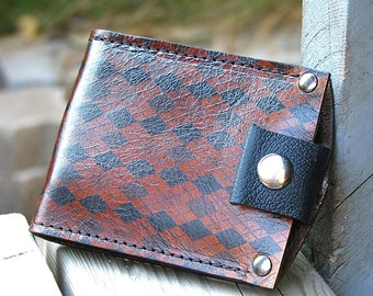 Mans Brown Leather Wallet, billfold, bifold, Money Clip - Slim Jim Argyle
