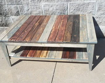 Nantucket farmhouse coffee table with tapered legs - farmhouse furniture - popular items - reclaimed wood coffee table -