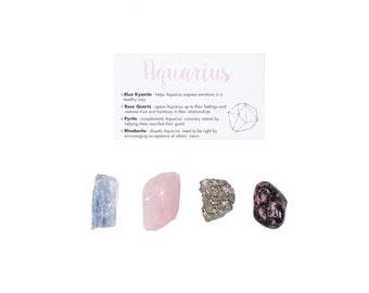 Aquarius Crystal Set / Zodiac Crystal Set / Healing Crystal Set / Gifts For Her / Zodiac Healing Stones / Zodiac Stones / Aquarius Gifts