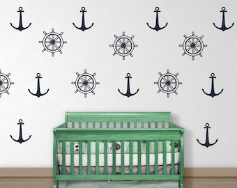 Helm and Anchor Wall Decals - Anchor Wall Decal - Vinyl Wall Decal - Helm Wall Decal - Ships Wheel Decal - Nautical Wall Decal - Wall Decor