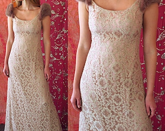 Victor Costa Dress Metallic Gold Lace Dress Vintage Victor Costa Gown