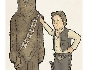 Han and Chewie - Illustration Art Print