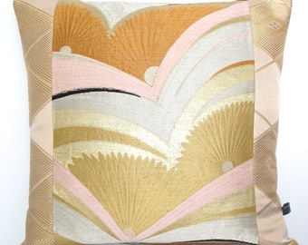 Luxury Decorative Pillow Cushion in Metallic Art Deco Fan and diamond geometric design woven from Japanese Obi Silks in Pink Gold & Silver