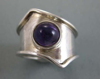 Solid Silver with Amethyst Ring