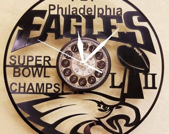 EAGLES SUPERBOWL vinyl record clock