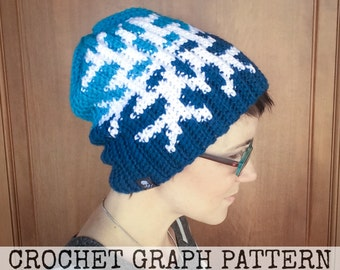 CROCHET GRAPH - Snowflake Color Grid for Crochet or Knit Beanies