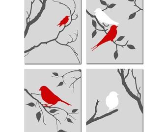 Bird Decor Bird Wall Art Bird Artwork Set of 4 Birds Prints - Bird Kitchen Decor, Bird Bedroom Art, Bird Bathroom Art - CHOOSE YOUR COLORS