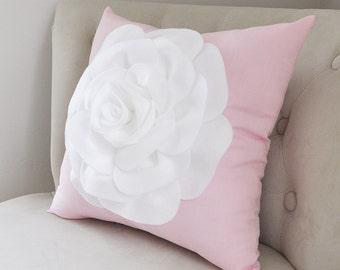 Throw Pillow White Rose on Light Pink Pillow 14x14 Botanical Home Decor 3D Rose Pillow Decorative Pillow