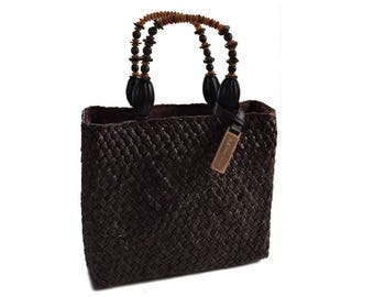 Vintage Anne Klein Woven Straw Handbag Purse with Beaded Handles - Chocolate Brown with Original Wood Tag - Hip Vintage Cruise Wear