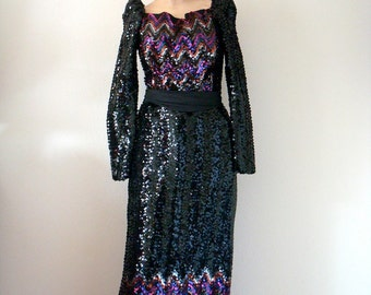 1970s Party Dress - Vintage Black Sequin Evening Gown - Lady Stardust Formal size S