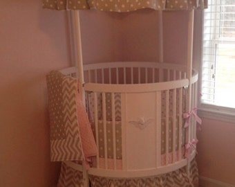 Round Baby Girl Crib Bedding Set in Pink Taupe and White