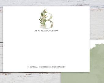 Whimsical Monogram B Printable Correspondence Card / Thank You Card with Watercolour Monogram