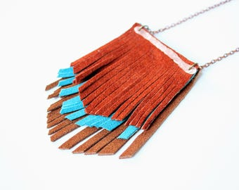 Fringe necklace, Leather fringe necklace, leather necklace