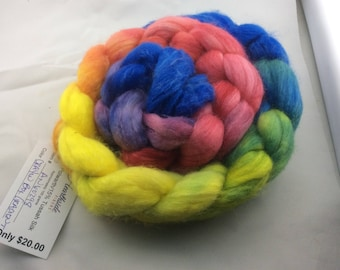 Hand Dyed Roving, Polwarth Wool and Tussah Silk Top, from Hearthside Fibers, colorway Crayon Box Gradient - A dream to spin
