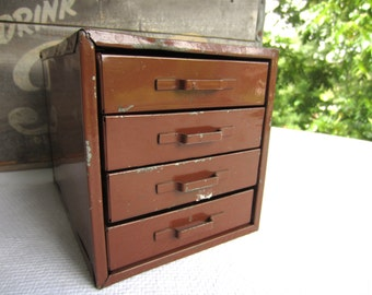 Vintage Metal Industrial Mini Cabinet Small Drawer Storage Supply Box Desk Top Back To School