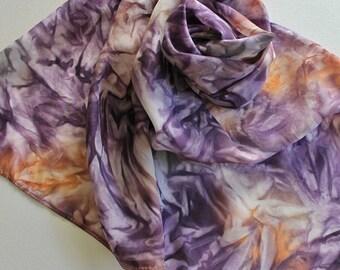 Hand Painted Silk Scarf - Handpainted Scarves Plum Dark Purple Grape Eggplant Orange Peach Gray Grey Silver