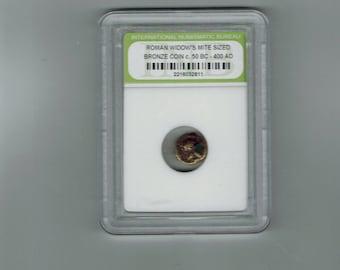 Ancient Roman widow's mite sized bronze coin C-50 BC-400 AD