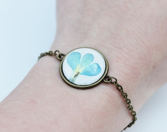 Blue pressed flower bracelet