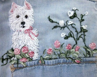 Womans New Chambray Blue Shirt/ Hand Embroidered,; Size Small/ Wearable Art; One of a Kind,  / Westie Puppy Dog and Roses