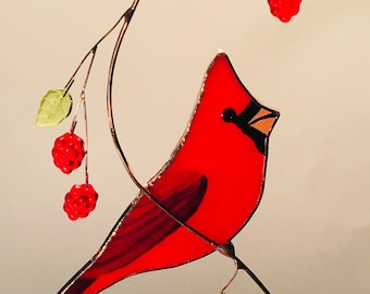 Large side view Cardinal with Berries stained glass suncatcher