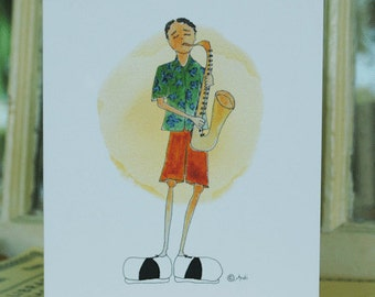Whimsical Hand Painted Saxophone Boy Birthday Card, Jazz Lovers Happy Bday Greeting Card, Fun Handmade Card for Musicians, Birthday Greeting