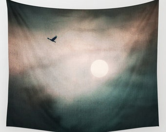 Sunset Tapestry, Flying Bird Tapestry, Cloud Large Wall Decor, Photo, Modern Decor, Wall Hanging, Nature Tapestry, Noir, Dorm, Office