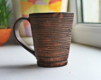 Ceramic coffee cup, ceramic coffee mug, clay coffee cup, clay coffee mug, Eco pottery mug, organic clay coffee cup